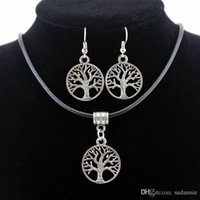 Wholesale Valentine Wholesalers China - 2017 Silver Tree Of Life Jewelry Sets Pendant Necklace & Earrings Totem Gift Wife Girlfriend Women Wedding Valentines Day Love