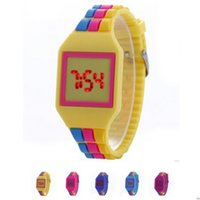 Wholesale Colorful Display Watch - Fashion Square Dial Digital LED Watches Women Mens Rainbow Watch Touch Screen Bracelet Colorful Silicone Men Wristwatches for GIFT Watch