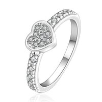 Wholesale Single China Plates - free shipping Inlaid stone single heart sterling silver jewelry ring SR161, brand new white gemstone 925 silver finger rings Wedding Rings