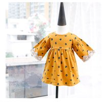 Wholesale Cozy Summer Dress - Autumn Baby Dress New 2017 Figure Printed Lace Sleeve Princess Dress Sweet Girls Casual Dresses Cozy Kids Boutique Clothing C1543