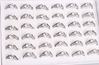 Wholesale Auger Ring - Wholesale 36Pcs mix lot Size Unisex Plated Stainless Steel ring fashion jewelry Band rings Set auger Rings weding ring Gift Free Shipping