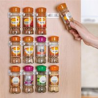 Wholesale 4pcs set Cabinet Spice wall Rack Storage plastic Kitchen organizer Door hooks