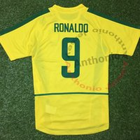 Wholesale brazil football uniform - 2002 BRASIL RETRO VINTAGE CLASSIC RONALDO RIVALDO RONALDINHO BRAZIL Thailand Quality soccer jerseys uniforms Football shirt camiseta futbol