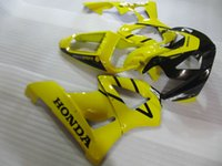 Wholesale plastic injection molded - Injection molded ABS plastic fairing kit for Honda CBR900RR 00 01 yellow black fairings set CBR929RR 2000 2001 OT28