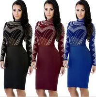 Wholesale Sexy Size 18 Dresses - Women Sexy Dresses Vestidos Femininos Plus Size Long Sleeve Vintage Bandage Dress Grenadine Splicing Print Dress SF11-18