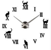 nueva decoracin casera gran espejo romano lindo gato moda diy modernos relojes de cuarzo saln d reloj de pared