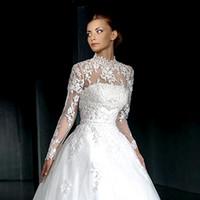 gelin boynu aksesuarları toptan satış-Fildişi Zarif Yüksek Boyun Dantel Uzun Kollu Düğün Düğmeleri ile 2018 Kadın Beyaz Gelin Ceketler Düğün Aksesuarları