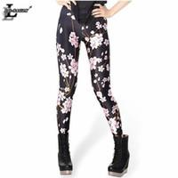 Wholesale Orange Blossom Flower - Wholesale- Cherry Blossom Pattern Black Women Leggings Fitness Fashion Pants Punk Flower Casual Leggins X-334