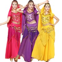 Wholesale Girls Dancewear Sets - Girls Ballroom Performance Adult Belly Dance Costume Sets Bollywood Gypsy Costumes Women Belly Dance Dress India Egypt Dancewear Outfits