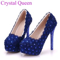 Royal Blue Rhinestone Pumps Shoes Mulheres Blue Lace Women Shoes Bombas Thin High Heels Bombas Para Mulheres Round Toe Royal Blue Heel 9EU