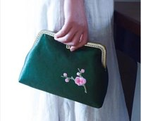 Wholesale Hard Shell Clutch - Original handcrafted silk tapestry satin banquet women handbag cheongsam chains vintage plum flower embroidery