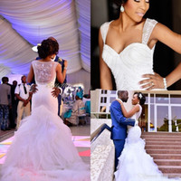 Wholesale Sexy White Sweetheart See Through - Modest Nigerian Wedding Dresses Mermaid Beading Organza See Through 2017 Sweetheart Chapel Train Ruffles Cheap Plus Size Bridal Gowns