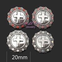 кросс-металлический страз оптовых-High quality w268 cross 18mm 20mm rhinestone metal button for snap button Bracelet Necklace Jewelry For Women Silver jewelry