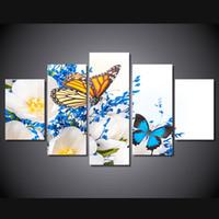 orquídeas lona óleo pintura conjuntos venda por atacado-5 Pçs / set Emoldurado HD Impresso Borboleta Orquídea Flor Imagem Arte Da Parede Da Lona Impressão Decor Poster Canvas Moderna Pintura A Óleo