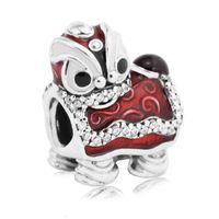 chinesische schmuckmarken großhandel-Valentines Chinese Lion Dance Charms Perle Authentische 925 Sterling Silber Schmuck Emaille Tier Perlen Für DIY Marke Armbänder Zubehör