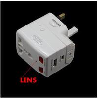 enchufe dvr cámara de poros al por mayor-US / UK / EU Plug Adaptador universal cámara Detección de movimiento Mini cargador DVR cámara estenopeica Seguridad CCTV mini DV en caja al por menor