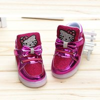 Wholesale Cheapest Kids Winter Shoes - 2017 New Cheapest Spring Autumn Winter Children's Sneakers Kids Shoes Chaussure Enfant Hello Kitty Girls Shoes With LED Light Size 21-30