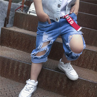 Wholesale Korean Baby Belt - Summer Kids Clothing new Korean boy Girl Denim Fashion Jeans hole baby pants Ripped Children shorts Jeans + belt 2pcs kids Short Jeans A636