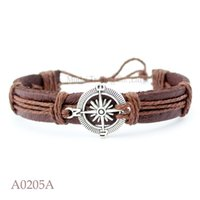 Wholesale Sail Bracelet - ANTIQUE SILVER COMPASS Charm Adjustable Leather Cuff Bracelets Gifts For Nautical Sailing Bangle Punk Casual Friendship Jewelry