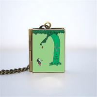 Wholesale locket necklaces online - 12pcs The Giving Tree Book Locket Necklace BRONZE tone VISION z2