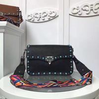 Wholesale diamond cross strap - 2017 new leather diamond green color rivet small bag wide straps Shoulder Messenger Bag lock postman