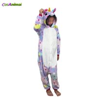 pijamas niños estrella al por mayor-Disfraz de Kigurumi de unicornio de estrella para niños Pijama de Onesie de invierno de dibujos animados para niños