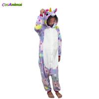 pijamas estrela crianças venda por atacado-Star Unicorn Kigurumi Costume para Crianças Cartoon Inverno Onesie Pijamas para Crianças