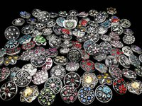 Wholesale Mixed Cloisonne Charms - 50 Pcs Lot Snap button 18mm size Retro Rhinestone Mixed Style DIY Handmade Jewelry Snap Charm Button For NOOSA Chunk Ginger Snap Bracelet