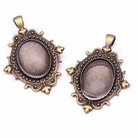 Wholesale Antique Base - 6set Fit 18*25mm dia Antique Bronze Flowers Style Cameo Cabochon Base Setting Charms Pendant + Clear Glass Cabochons AT7801-1