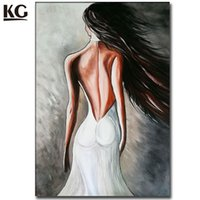 Wholesale Modern Painting Naked Girl - Modern Nude Art Sexy Lady Back Naked Girl Long Hair Oil Painting Handmade Canvas Art Abstract People