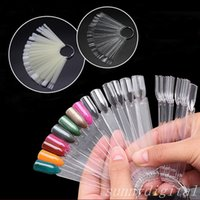 Wholesale Nail Sticker Uv - 50PCS False Nail Tips Fan shaped Fake Nail Art Tips Polish UV Gel Sticker Clear Natural Decoration Display Stick Gel Salon Tool