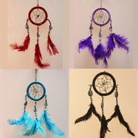 Wholesale Car Gift Items - Newest India Styles Handmade Dream Catcher With Feathers Car Wall Hanging Decoration Gift Room Decor Dreamcatcher Novelty items DHL Free