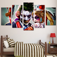 5 Pcs / Set Framed HD Imprimé Joker Harley et Quinn Image Kid Room Canvas Poster Cheap Abstract Oil Painting