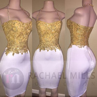 Wholesale Cheap Pipe Bone - 2017 New Little White Short Homecoming Dresses Gold Lace Appliqued Top Halter Neck Sheath Cocktail Dresses Cheap Formal Girls Party Wear