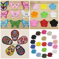 Wholesale Skull Rose Bag - 1 4hj Fashion Embroidered Patches Applique Rose Skull Butterfly Plum Blossom Ironing Patch Diy Stickers Iron Badge For Clothing Bag Sewing