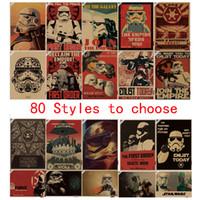 Wholesale Sticker Kraft - 80styles Star War Posters Wars Inspired Storm Poster Retro Kraft Paper Bar Home Decor Painting 42x30cm Wall Sticker