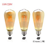 Vintage LED Edison Filamento Bulb Dimmable ST64 E27 220V 2W 4W 6W 8W Retro Edison Bulbs 110V Led lâmpada Replace Incandescent Light