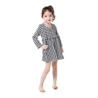 Wholesale Cotton Dress Styles Western - Vintage Long Sleeve Houndstooth Girls Dress Cotton Winter Western Girls Outfit O-neck Baby Girls Dress A Line Dress For 5T Girls