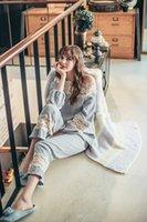 Wholesale Princess Pajamas Ladies - South Korea's long sleeved lace cotton pajamas lady palace Princess autumn wind Home Furnishing clothing export package