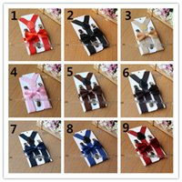 Wholesale Girls Bow Tie Suspenders - Hot Sell New Arrival Kids Suspenders + Bow Tie Set 25 Colors! for 1-10T Baby Braces Elastic Y-back Boys Girls Suspenders Accessories Q0791