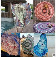 Wholesale Tablecloth Print Designs - 34 Designs Round Mandala Beach Towels Carpets Printed Tablecloth Bohemian Beach Towel Serviette Covers Shawl Wrap Yoga Mat CCA5659 100pcs
