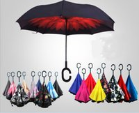 Wholesale 24 Styles C Hook Hands Windproof Reverse Folding Double Layer Inverted Chuva Umbrella Self Stand Inside Out Rain Protection