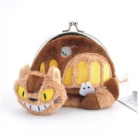 Wholesale Bus Bags - 2 Style My Neighbor TOTORO   Totoro Bus Plush Coin Bag Stuffed Animals Doll Toy For Child Gifts (Size: 12*9CM   6pcs Lot ) DR-031