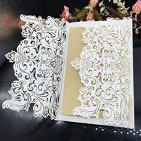 100 Set Laser Cut Invitation Cards Ahueca Hacia Fuera La Flor Elegant Universal Invitations Para El Cumpleaños De La Boda Con Sobre Free Printing