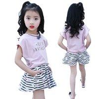 Wholesale Vestidos Festa Kids - Girls Shorts Sets Summer 2017 Fashion Cute Striped Print T Shirts + Pants 2Pcs Kids Clothes Suits vestidos de festa infant