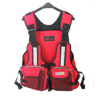 Wholesale Buoyancy Aid Vest - Wholesale- New Adult Safety Swimming Buoyancy Aid Sailing Life Jacket Floating Vest Adjustable Fishing Clothing With Multi-Pocket