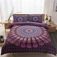 karikatür minderleri toptan satış-99xq Bohemian Mandala Yatak Üç Setleri 200 * 230 cm Nevresim Kapakları 74 * 48 cm Yastık Fil Desen Yorgan Yastık Örtüsü Pillowslip Tavuskuşu