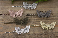 Wholesale Hair Bronze Diy - Antique Bronze Gold Silver Black Barrettes Hair Bobby Pin clips with Butterfly Tray,DIY Jewelry Finding Accessories 100pcs