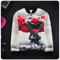 Wholesale Mushroom Jacket - Korea style winter jacket men bomber jackets street outerwear autumn coat 3D print clown mushroom cloud print sweatshirt SX-075
