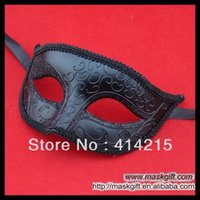 Wholesale Men Party Themes - Hot Sell F 002 -Bk Solid Black Masks Halloween Theme Masquerade Party Mask ,Half Face Plastic Mask Free Shipping